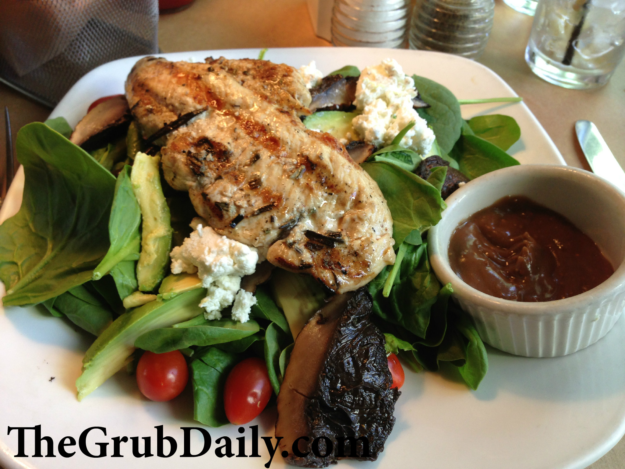 Spinach Salad, which came fully-loaded with grilled marinated chicken ...